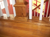 custom oak railing steps