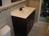 Custom bath vanity swan stone installation